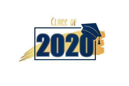 Class of 2020. Hand drawn brush gold stripe and number with education academic cap. Template for graduation design frame, high school or college congratulation graduate, yearbook. Vector