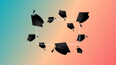 Class of gradient background. Thrown up black education academic cap. Template for graduation design, high school, college congratulation graduate, yearbook. Vector illustration