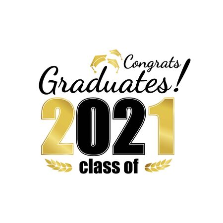 Class of 2021. Black gold number with education academic cap and laurel wreath on white. Template for graduation design, high school or college congratulation graduate, yearbook. Vector illustration.  イラスト・ベクター素材