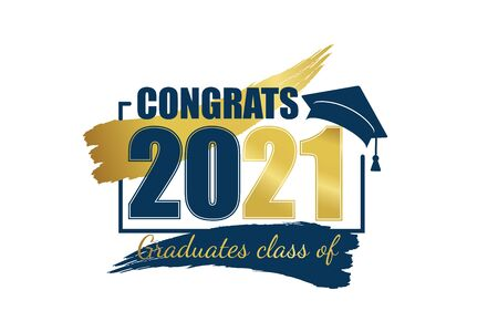 Class of 2021. Hand drawn brush gold stripe and number with education academic cap. Template for graduation design frame, high school or college congratulation graduate, yearbook. Vector illustration. Vetores