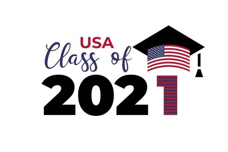 USA Class of 2021. Black number with education academic cap with United States of America flag. Template for graduation design, high school or college congratulation graduate. Vector illustration.  イラスト・ベクター素材