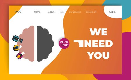 Design concept landing page for Recruitment. Modern flat mobile website page. People job interview. Button with text We need you.  Vector illustration for recruit poster, banner, flyer template