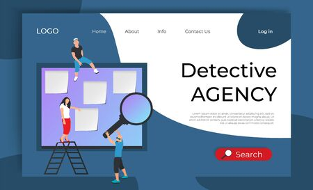 Concept landing web page for detective agency. Inspector with glasses and magnifier near Investigation board with pinned paper sticker. Vector flat illustration. Poster, banner, website template