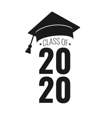 Class of 2020. Black number, education academic cap on white background. Template for graduation design frame, high school, college congratulation graduate, yearbook. Vector illustration.  イラスト・ベクター素材