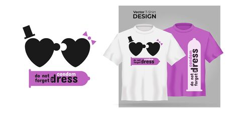 Unisex t-shirt mock up set with type Do not forget to dress condom. 3d realistic shirt template with motivation poster with puzzle man and woman have sex. Pink and white tee mockup, front view design Illustration