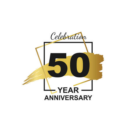 50th golden anniversary logo celebration with frame and hand drawn ink brush gold ribbon. Vector template element for your 50 birthday party poster greeting card on white background and black number.