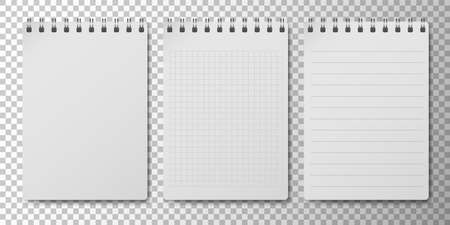 Realistic 3D notepad or notebook set with clean white empty papper page isolated on transparent background. Memo spiral note pad with lined and squared page templates. Vector illustration