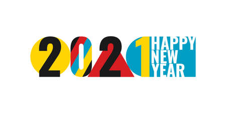 2021 Happy New Year abstract concept design bauhaus style  , icon, sign isolated on white background. Banner, poster, flyer, placard, greeting card 2021 new year. Vector illustration.