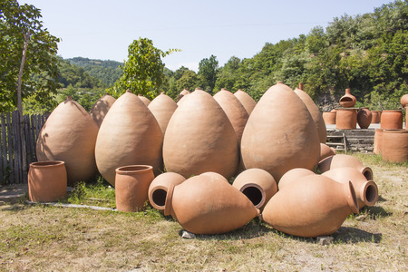 Traditional georgian jugs for wine outdoor