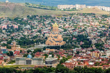tbilisi: View of Sameba church in Tbilisi, Georgia.