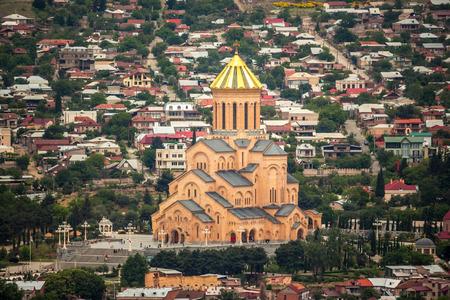 sacred trinity: View of Sameba church in Tbilisi, Georgia.