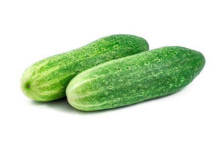 cuke: fresh cucumbers isolated on white background. Stock Photo