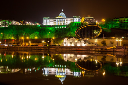 Georgia, Tbilisi night . View from the right bank of the Kura River to the Presidential Palace. Editorial
