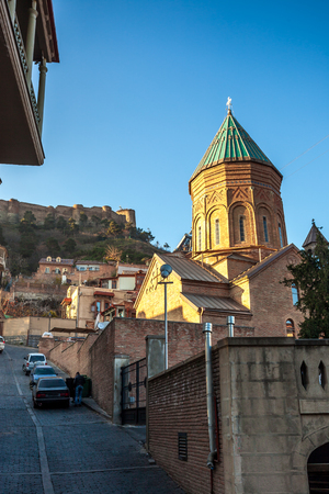Tbilisi, Georgia - November 25, 2016. View of XIII century St George cathedral, Armenian church on the oldest part of Tbilisi
