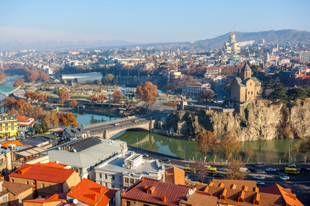 The Panoramic View Of Tbilisi, Sameba, Metekhi,  autumn, Georgia, Europe