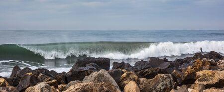 waves of the sea breaking on the beach, Poti, Georgia. Stock Photo