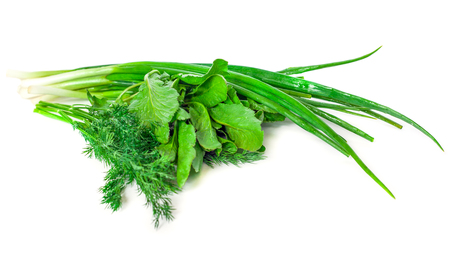 green onion, dill and spinach on a white background.