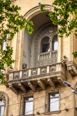 Beautifull ornamental Balcony, Tbilisi Science House, Georgia. Stock Photo