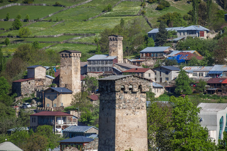 heritage protection: Towers in Mestia village in Svaneti area Caucasus mountains in Georgia.