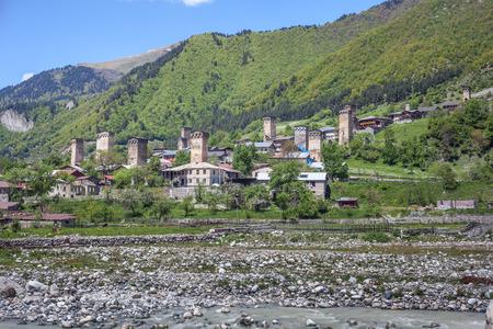 Towers in Mestia village in Svaneti area Caucasus mountains in Georgia.