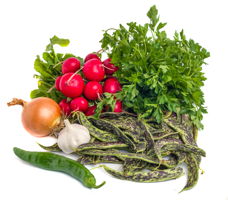 Fresh Borlotti Beans, garlic, onion, parsley and ather vegetable on a white backgronud Archivio Fotografico