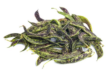 Fresh Borlotti Beans on a white backgronud, agriculture