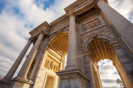 Historical marble arch Arco della Pace, Sempione square, Milan, Lombardy, Italy.