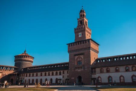 12.12.2017; Milan, Italia - Sforza Castle view in Milan. Italian famous landmark. Architecture and buildings. Editorial