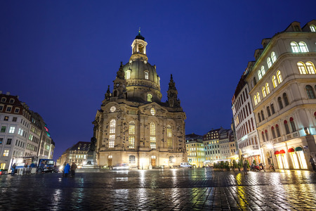 The Neumarkt square and Frauenkirche (Church of Our Lady) in Dresden at night.