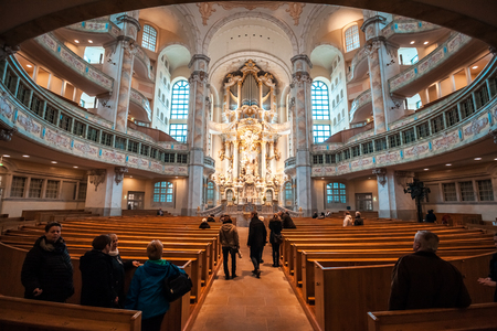 22.01.2018 Dresden, Germany - Dresden, Germany. The interior of the Frauenkirche cathedral. Frauenkirche was completed in 1743. Editorial
