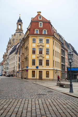 Old beautiful houses in Dresden, Saxony, Germany.