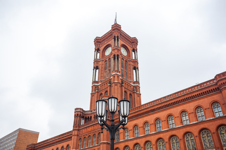 Famous Rotes Rathaus, Meaning Red City Hall In German Language, Berlin, Germany. Stock Photo