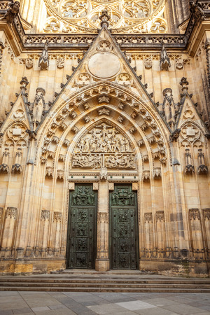 Front view of the main entrance to the St. Vitus cathedral in Prague Castle in Prague, Czech Republic