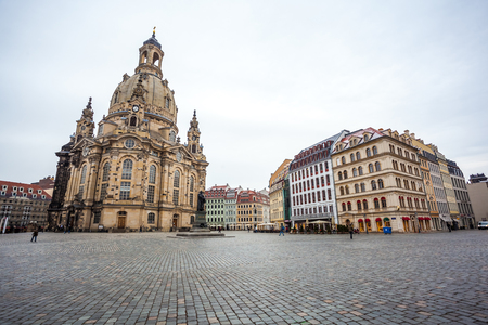 Church Frauenkirche in the cloudy day, Dresden, Saxony, Germany.