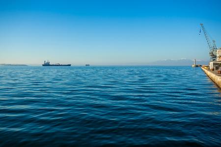 Ships in the gulf of Thessaloniki, Greece. Sunny day.