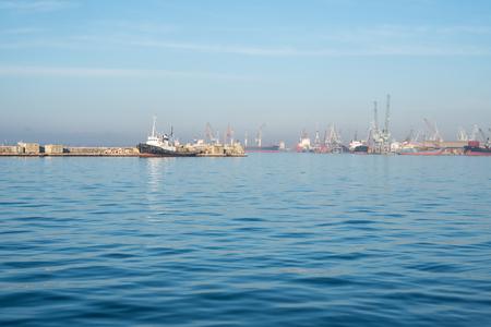 Ship in the gulf of Thessaloniki, Greece, on a sunny sky.