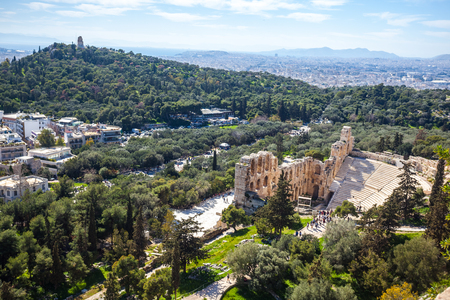 Ruins of the ancient greek historical monument - Theater of Dionysos, part of Athenian Acropolis in Athens, Greece. Stok Fotoğraf