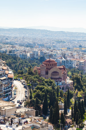 View of Thessaloniki and the Orthodox church of Saint Paul the Apostle. Greece. Stock Photo