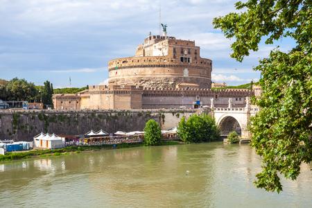Saint Angel Castle and bridge over the Tiber river in Rome. Editoriali