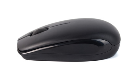 Computer wireless black mouse isolated on white background. Imagens