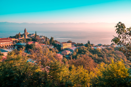 Signagi or Sighnaghi city in Kakheti region in Georgia, sunrise in Sighnaghi. Stok Fotoğraf
