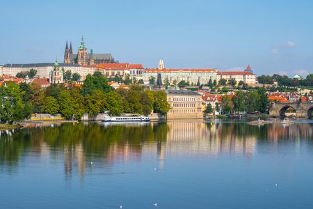 View of the Prague Castle and St. Vitus Cathedral from the Vltava River,Prague, Czech Republic. Banco de Imagens