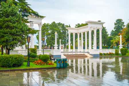 The beautiful colonnade in the seaside Park in the center of Batumi, rainy day, Georgia