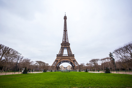 View at Eiffel Tower from the Champ de Mars (Field of Mars).