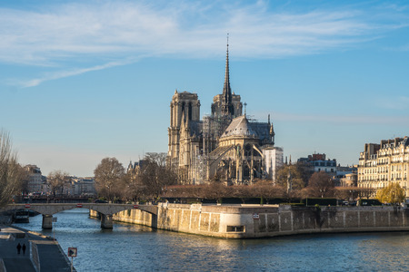 Notre Dame de Paris Cathedral, beautiful Cathedral in Paris. View from the River Seine. France.