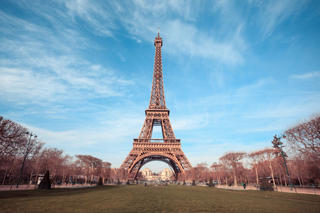 Beautiful photo of the Eiffel tower in Paris, France Фото со стока