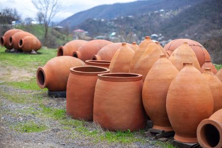 Georgian traditional jugs kvevri for wine, outdoor trade