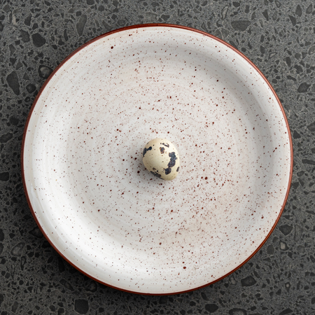 Quail Egg on the gray plate, eco product, Easter Holiday, top view