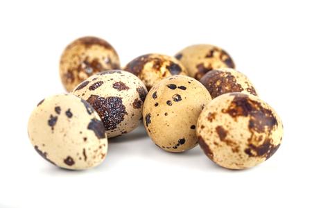quail eggs isolated on white background. close up, eco product