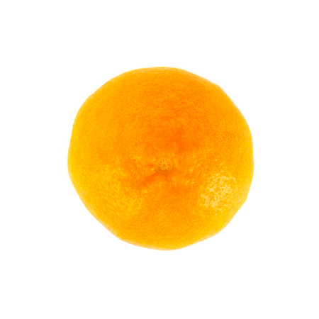 Tangerine (mandarin) on a white background, raw fruit, top view
